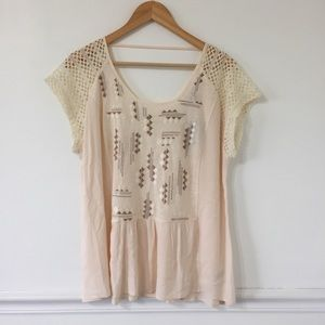 Miss Me Embroidered Crochet Blouse